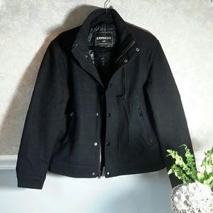 EXPRESS | Men's Black Zip Pea Coat